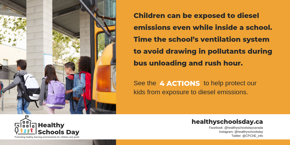 Picture of chiclren exiting from school bus entering into school. Text reads: Children can be exposed to diesel emissions even while inside a school. Time the school's ventilation system to avoid drawing in pollutants during bus unloading and rush hour. See the four actions to help protect our kids from exposure to diesel emissions.