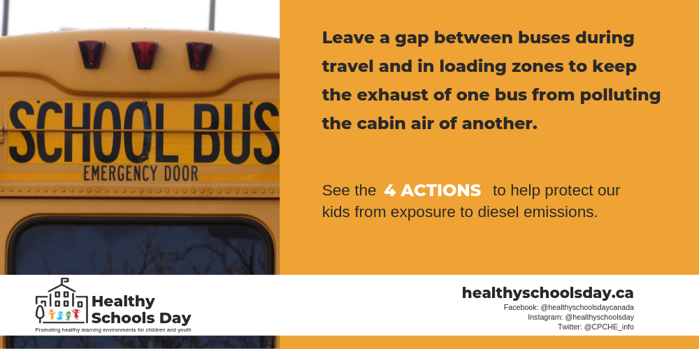 Picture of back of school bus. Text reads: Leave a gap between buses during travel in loading zones to keep the exhaust of one bus from polluting the cabin air of another. see the four actions to help protect our kids from exposure to diesel emissions.